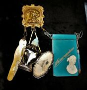 Chatelaine Brass Victorian Lady, Parrot Nail File, Sewing Kit, Journal, Bakelite