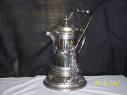 Antique Reed And Barton Silver Porcelain Insert Tilting Hot Water Pitcher