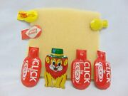 7 - Vintage Tin Toy Advertising Clickers - Dairy Queen, Circus Lion, Acme Click