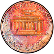 1996-d Lincoln Memorial Cent Penny Bu Toned Coin Great Detail