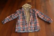Mens Long Sleeve Quilted Lined Flannel Jacket Hood Large New Teen Coat Brown Red