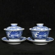 5.2qianlong Marked China Blue White Porcelain Dynasty Dragon Lids Bowl Cup Pair