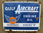 Vintage Gulf Aircraft Porcelain Large Aviation Air Plane Metal Gas And Oil Sign