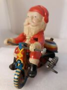 Vtg Santa Claus Bike Tricycle Christmas Japan Tin Wind-up Toy Parts Only Suzuki
