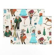 Cloth Placemats Xmas Red Green Ecru Nutcracker Mouse King Kids Set Of 2