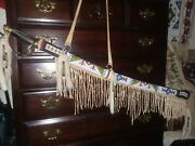Native American Lakota Style Brain Tanned Leather Beaded Sword And Scabbard