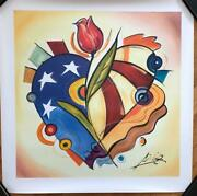 Alfred Alexander Gockel Original Giclee On Canvas Signed Red White And Rose