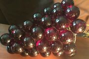 """1960's Lucite Grapes Swag Light Hanging Lamp Purple Vintage Mid Century 13"""""""
