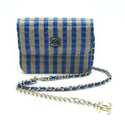 Chain Shoulder Hand Bag Stripe Leather Fabric Blue Beige Used