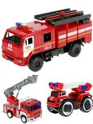 Collectible Metal And Plastic Model Kamaz Fire Truck Light + Sound Fire Engine Car