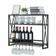 Industrial Wine Racks Wall Mounted With 8 Stem Glass Holder,31.5in Rustic Metal