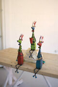 Kalalou Set Of 3 Recycled Metal Deer Shelf Sitter Figurines - Perfect For Gift