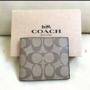 New Coach Signature Pvc Menand039s Id Bill Sport Wallet F66551 With Box