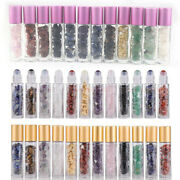10x 50x Natural Crystal Roller Bottles Chip Bamboo Cap For Essential Oil Perfume