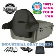 Advanblack Industrial Gray Denim King Tour Pack Pad For Harley Electra 1997-2021