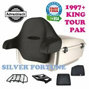 Silver Fortune King Tour Pack Black Hinges And Latch For 97-21 Harley Electra