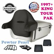 Pewter Pearl King Tour Pack Trunk Black Hinges And Latch For 97-21 Harley Electra