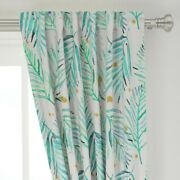 Watercolor Palms Mint Green And Gold 50 Wide Curtain Panel By Roostery