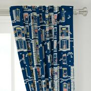 Blue Paris Houses Village Rustic European 50 Wide Curtain Panel By Roostery