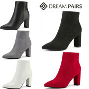 Dream Pairs Women Ankle Boots Pointed Toe Chunky Block Heel Side Zipper Boots