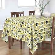 Tablecloth Yellow Ditsy Floral Grey Color Year Folk Cotton Sateen