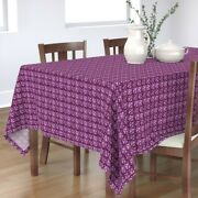 Tablecloth Spring Air Damask Violet Small Scale Vintage Purple Cotton Sateen