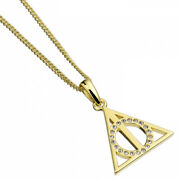 Official Harry Potter Gold Plated Deathly Hallows Crystal Necklace