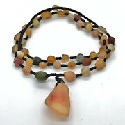 Antique Tibetan Necklace Made With Real Ancient Agate Beads Nepali Jewelry Old