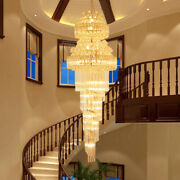 Large 3 Color Led Crystal Chandelier Luxury Stair Lamp Long Hall Lighting Decor