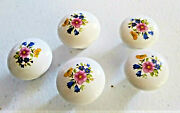 5 Vintage White Round Floral Ceramic Drawer Cabinet Knob Pulls Approx 1 1/2andrdquo