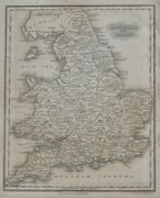 Original 1834 Map England And Wales Yorkshire Devon Oxford London Liverpool Exeter