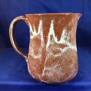 Early Signed Neolia Cole Pottery Sanford Nc 7andrdquo Brown Tan Pitcher Dated 1977