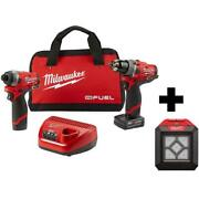Cordless Hammer Drill And Impact Driver Combo Kit With Led Flood Light Milwaukee