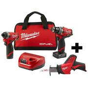 Cordless Hammer Drill And Impact Driver Combo Kit With Reciprocating Saw And Bag