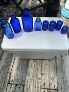 Vintage Cobalt Blue Glass Lot Of 8 Bottles And Jars These Are Old, Rare-