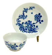 Royal Worcester Dr. Wall Porcelain Cup And Saucer In Creeper Print C.1760 Rare