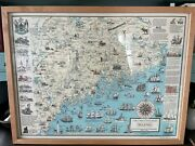 Ruth Rhoads Lepper Map Western Central And Eastern Maine Framed Excellent Cond.
