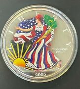 2005 1/2lb. .999 Silver Giant Colorized American Silver Eagle In Air-tite Case
