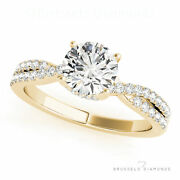 0.81 Ct D/vs2 Diamond Solitaire Engagement Ring Round Yellow Gold Split Shank