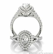1.05 Ct Diamond Double Halo Engagement Ring Pear G/si1 14k White Gold Natural