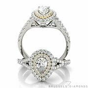 1.00 Ct Natural Diamond Double Halo Engagement Ring Pear G/si1 14k White Gold