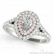 1.05 Ct Natural Diamond Double Halo Engagement Ring Pear G/si1 14k White Gold