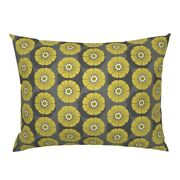 Floral Retro Mid Century Large Scale Gold Herb Pillow Sham By Roostery