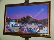 Artist Gail G.oyer Signed Mercedes Surrealism Oil/canvas Colorful Painting