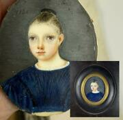 Antique French Portrait Miniature Of A Beautiful Child, Young Girl, C.1836, Id'd
