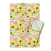 Thin Stripes Dark Green Sunflower Linen Cotton Tea Towels By Roostery Set Of 2