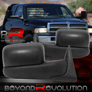 94-97 Ram 1500 2500 3500 Power Black Towing Mirrors Adjustable Extended Set