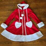 Cosplay Red Victorian Christmas Hooded Fully Lined Coat Custom Made In Poland