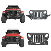 Fit Jeep Wrangler 18-21 Jl And Jt Full Protection Front Grill Bumper Bar W/ Light