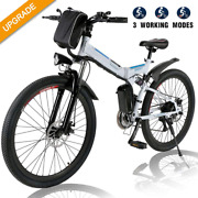 26and039and039 Folding Electric Mountain Bike Shimano 21speed Adults Ebike Full Suspension